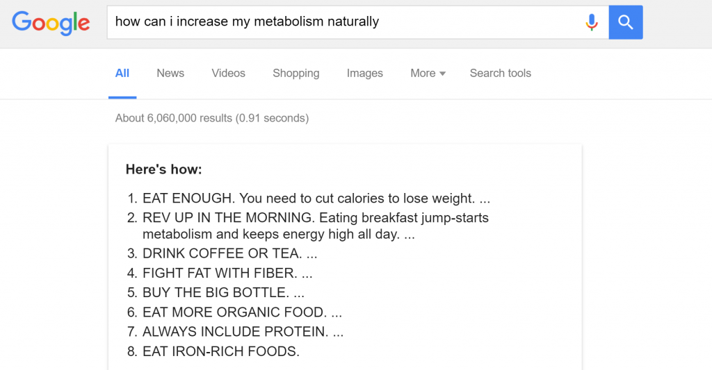 google results for metabolism naturally